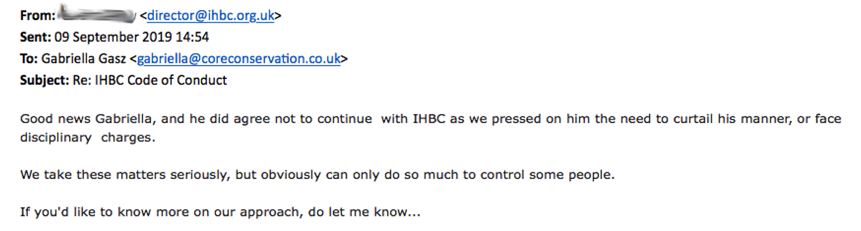 IHBC kicked out member